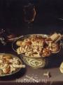 Beert, Osias  Quatre plats de friandises et de marrons avec troi verres