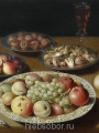 Beert, Osias Still life of bowls with fruit and nuts, bread, two wine glasses