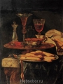 Berentz, Christian Still life with crystal glasses and  sponge-cakes