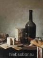 Eversen,  Johannes Hendrik  A wine bottle, baguette and cheeses on a wooden table