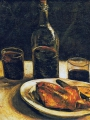 Gogh, Vincent van Gogh Still Life With Bottle, Two Glasses, Cheese And Bread