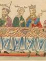 Landsberg, Herrad von Queen Esther and King Ahasuerus (Hortus Deliciarum)  (XII c)