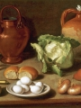 Magini, Carlo  Still Life With Eggs, Cabbage And Candlestickstill Life With Cup, Bottle, Clay Pot And Candlestick
