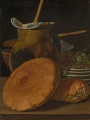 Meléndez, Luis Eugenio Still Life with Bread, Grapes, Jug, and Receptacles