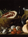 Meléndez, Luis Eugenio  Still Life with Bread, Ham, Cheese