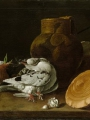 Meléndez, Luis Eugenio Still Life with Pigeons, Onions, Bread