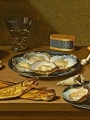 Schooten, Floris Gerritsz van    Fish Still Life with Oysters and Smoker's Accessories