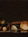 Schooten, Floris Gerritsz van   Still Life fruit, bread and a goblet on a table painting