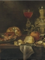 Adriaenssen, Alexander    A silver plate with seafood, a roll of bread, a 'Facon-de-Venise of red wine'