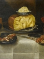 Adriaenssen, Alexander The Elder  Cheese, ham, bread, crabs, two glasses, an inlaid knife and a Bembel on a table top