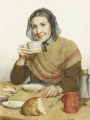 Anker, Albert  Samuel - SITTING PEASANT WOMAN HOLDING A CUP IN HER HAND